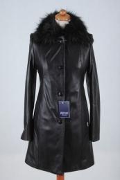 Płaszcz skórzany Klaudia - czarny