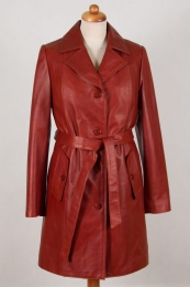Płaszcz skórzany Justyna - cegła